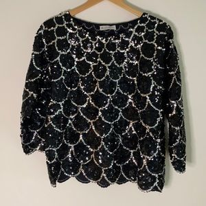 HD hand embroidered scalloped sequin top. No Size
